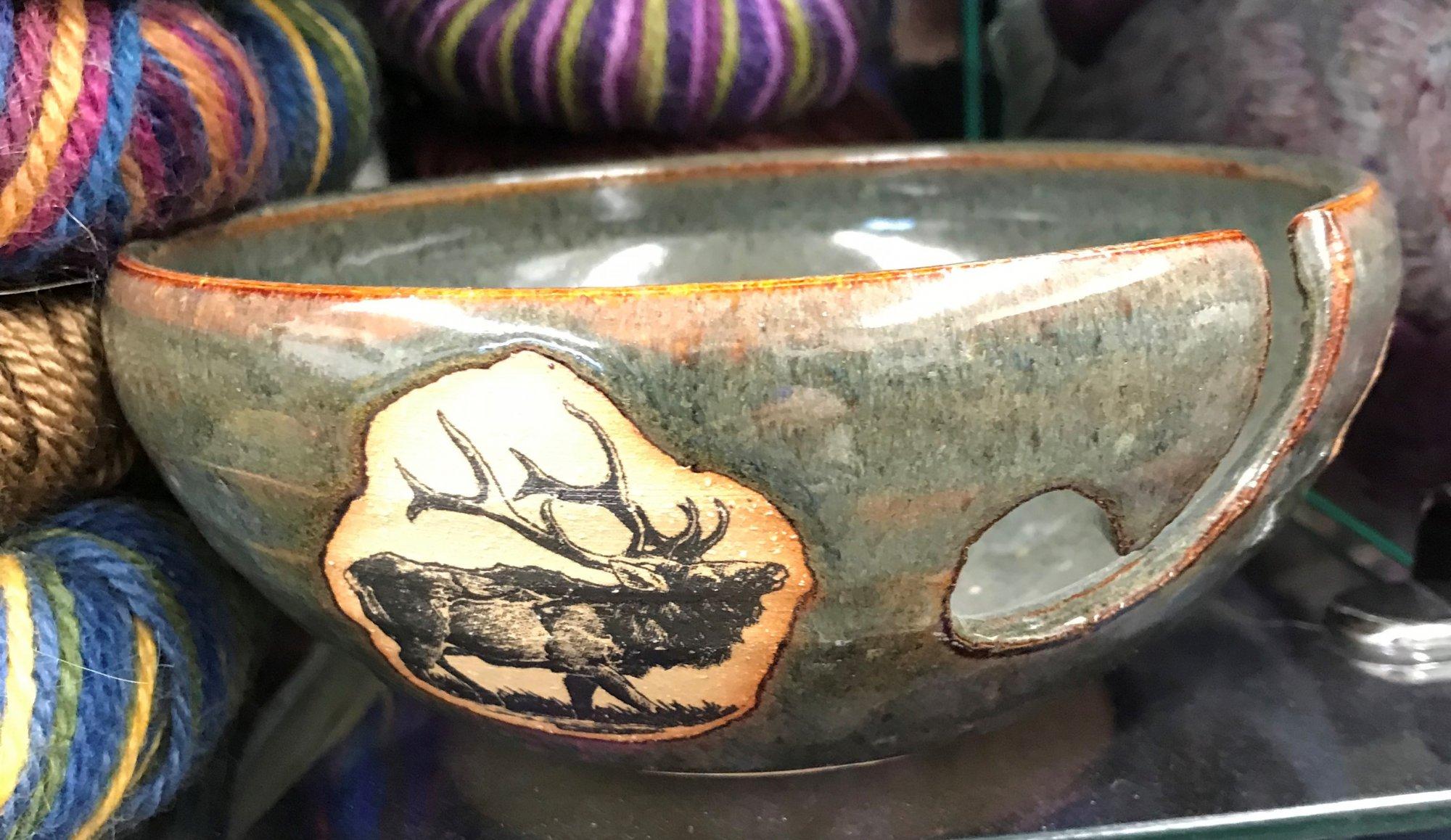 Ceramic Yarn Bowl Elk, Made in Colorado