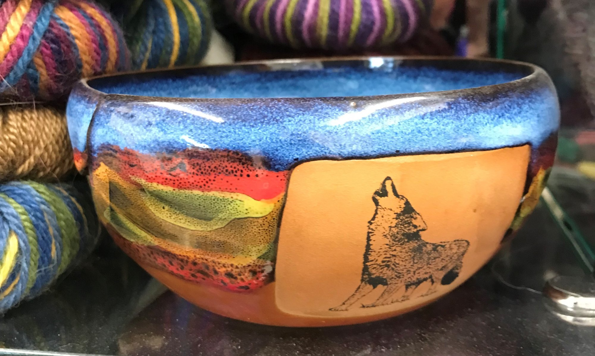 Ceramic Yarn Bowl Wolf, Made in Colorado