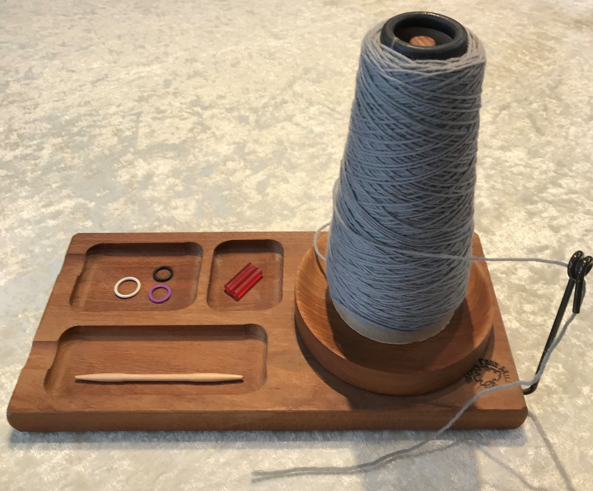 Yarn Spool with Accessory Tray-Cherry Made in USA