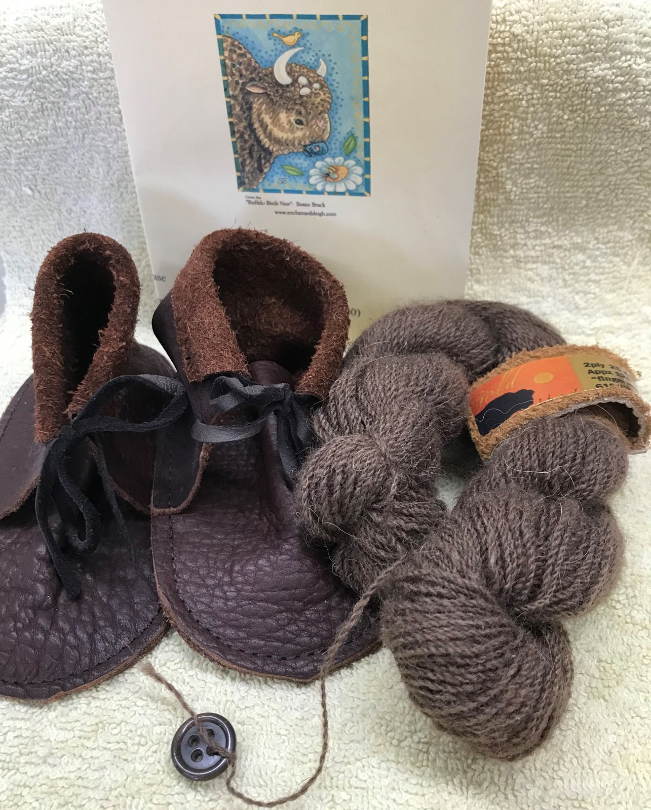 Buffalo Gold #5 Baby Bonnet Knit Kit with Bison Booties, 100% American Bison