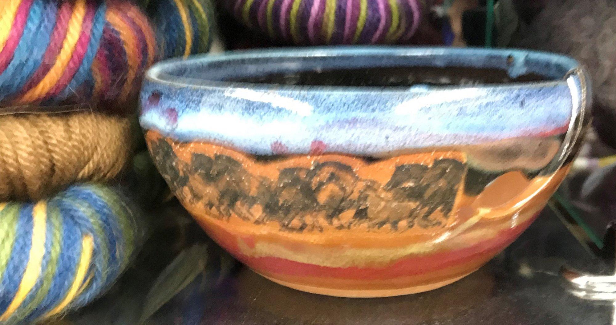 Ceramic Yarn Bowl Mustangs, Made in Colorado