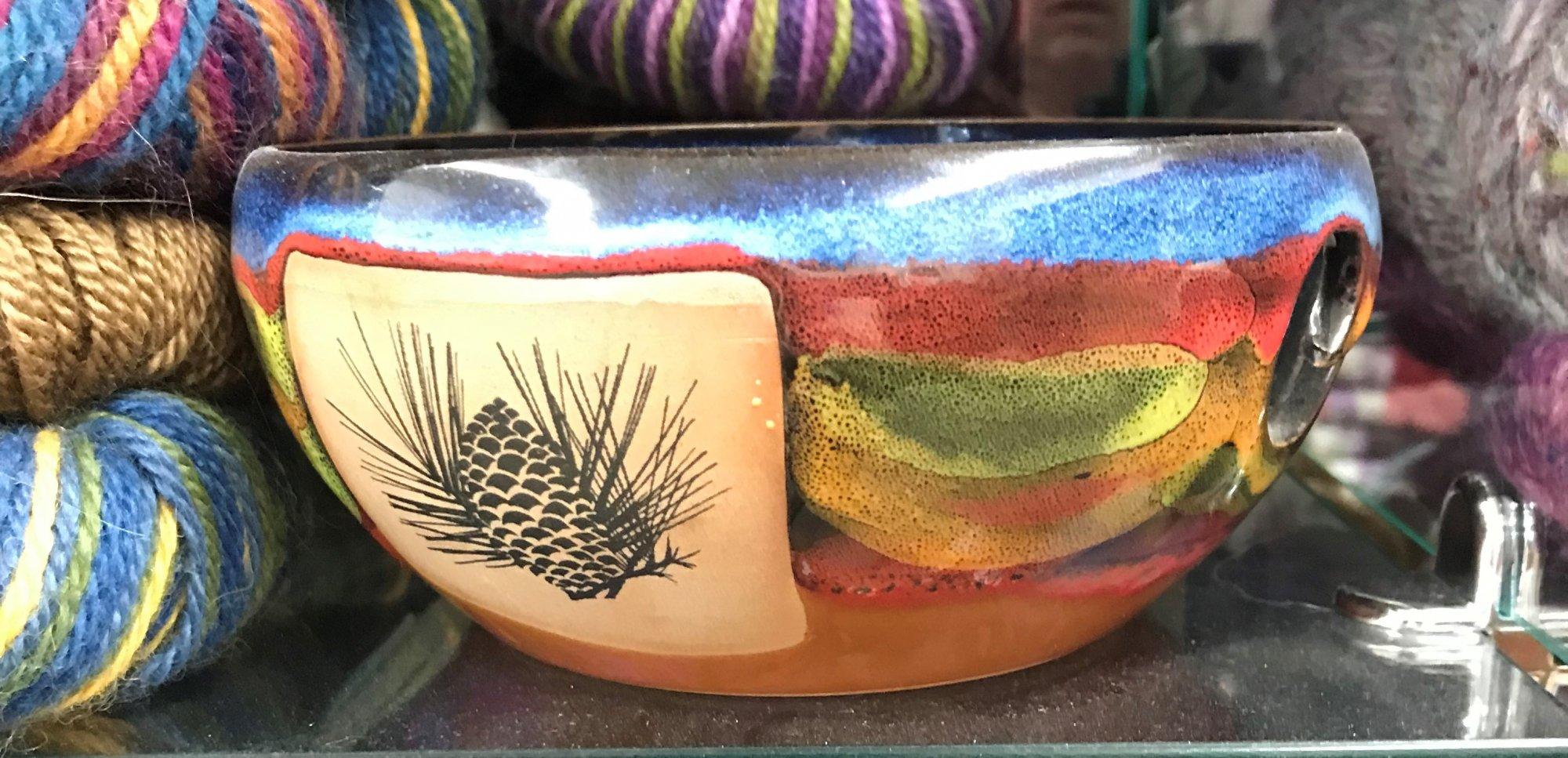Ceramic Yarn Bowl Pine Cone, Made in Colorado