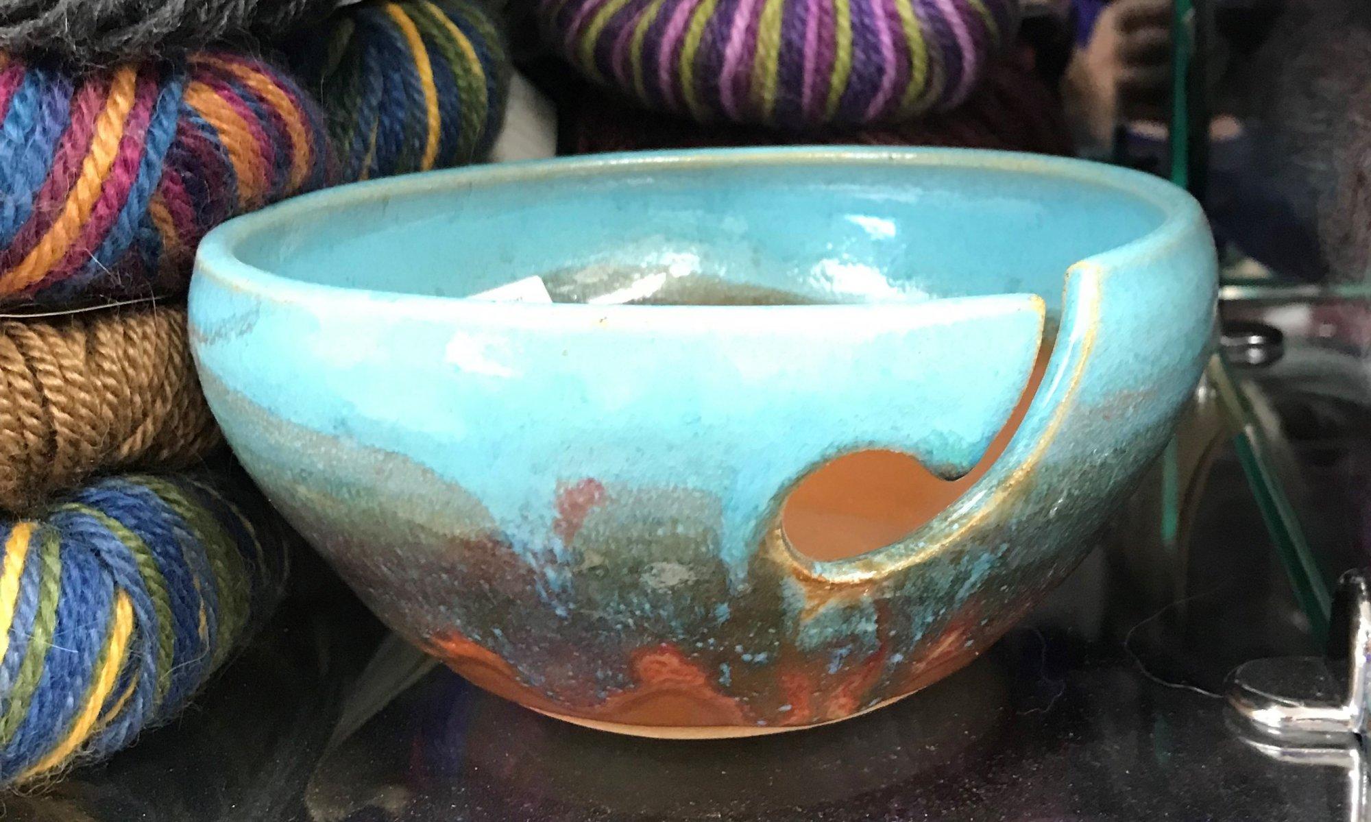 Ceramic Yarn Bowl Sky, Made in Colorado
