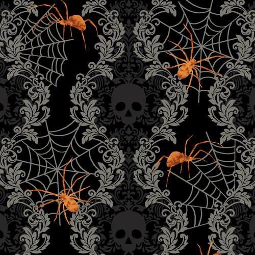 Spooky Night - Spooky Damask Stripe
