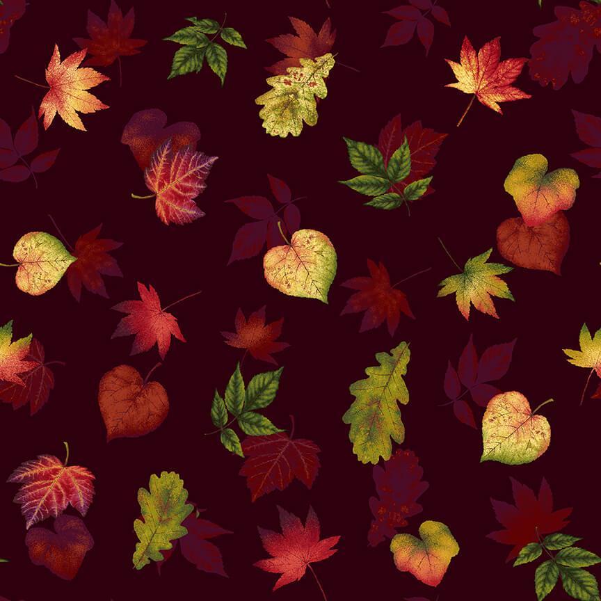 Pumpkin Harvest Leaf Toss Burgundy