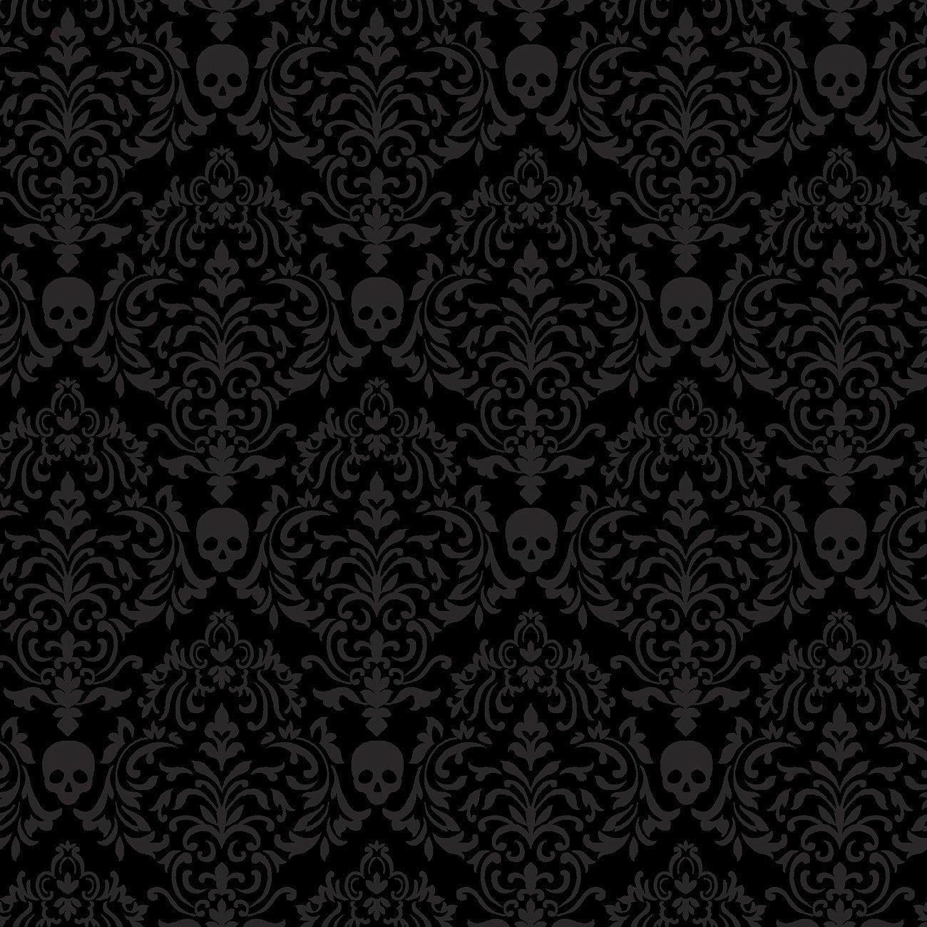 Spooky Night - Spooky Small Damask Black