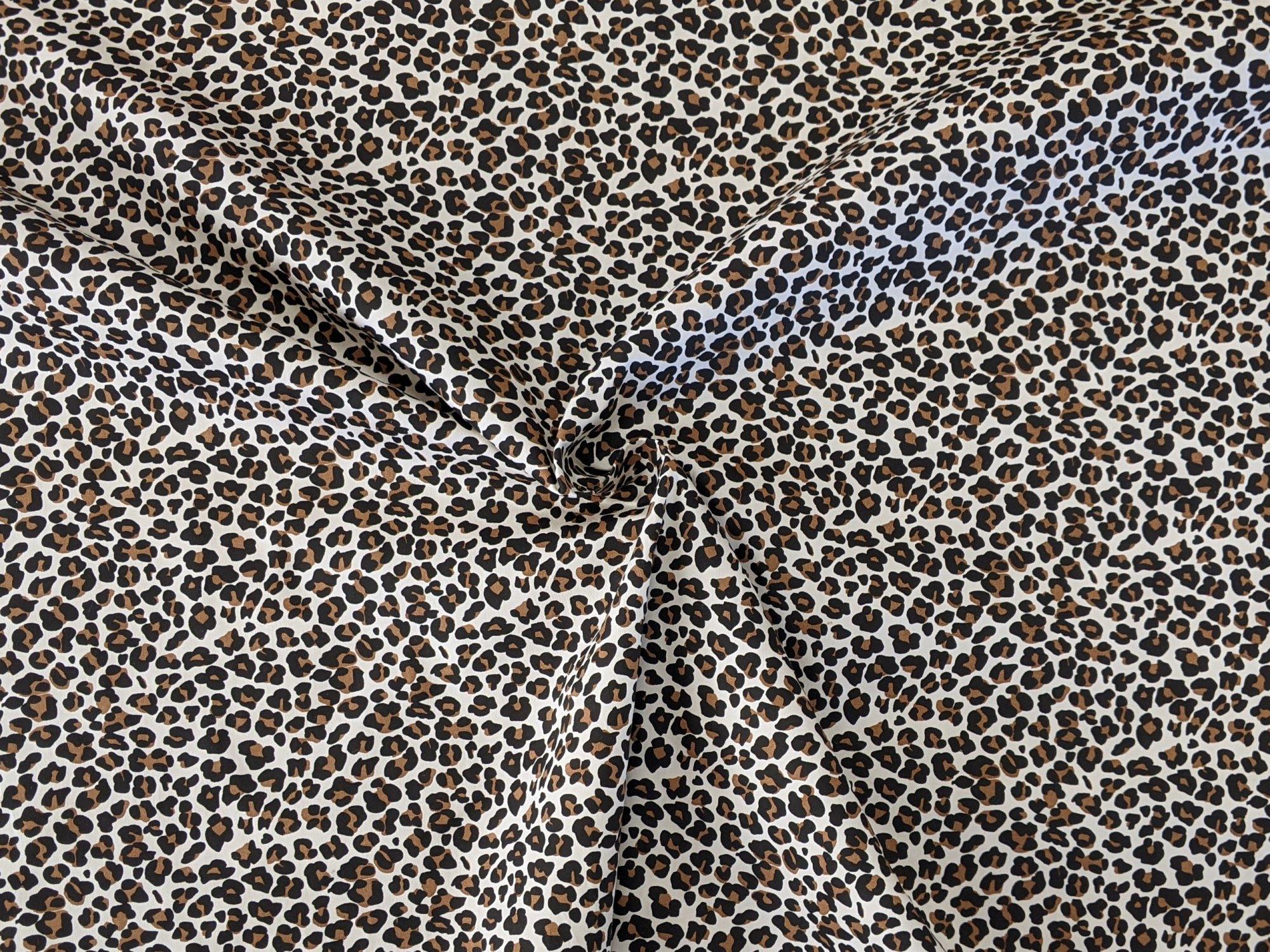 Leopard Print Stretch Sateen Cotton Lycra