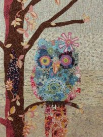 Owl sewing collage quilting fiber arts at Studio BERNINA