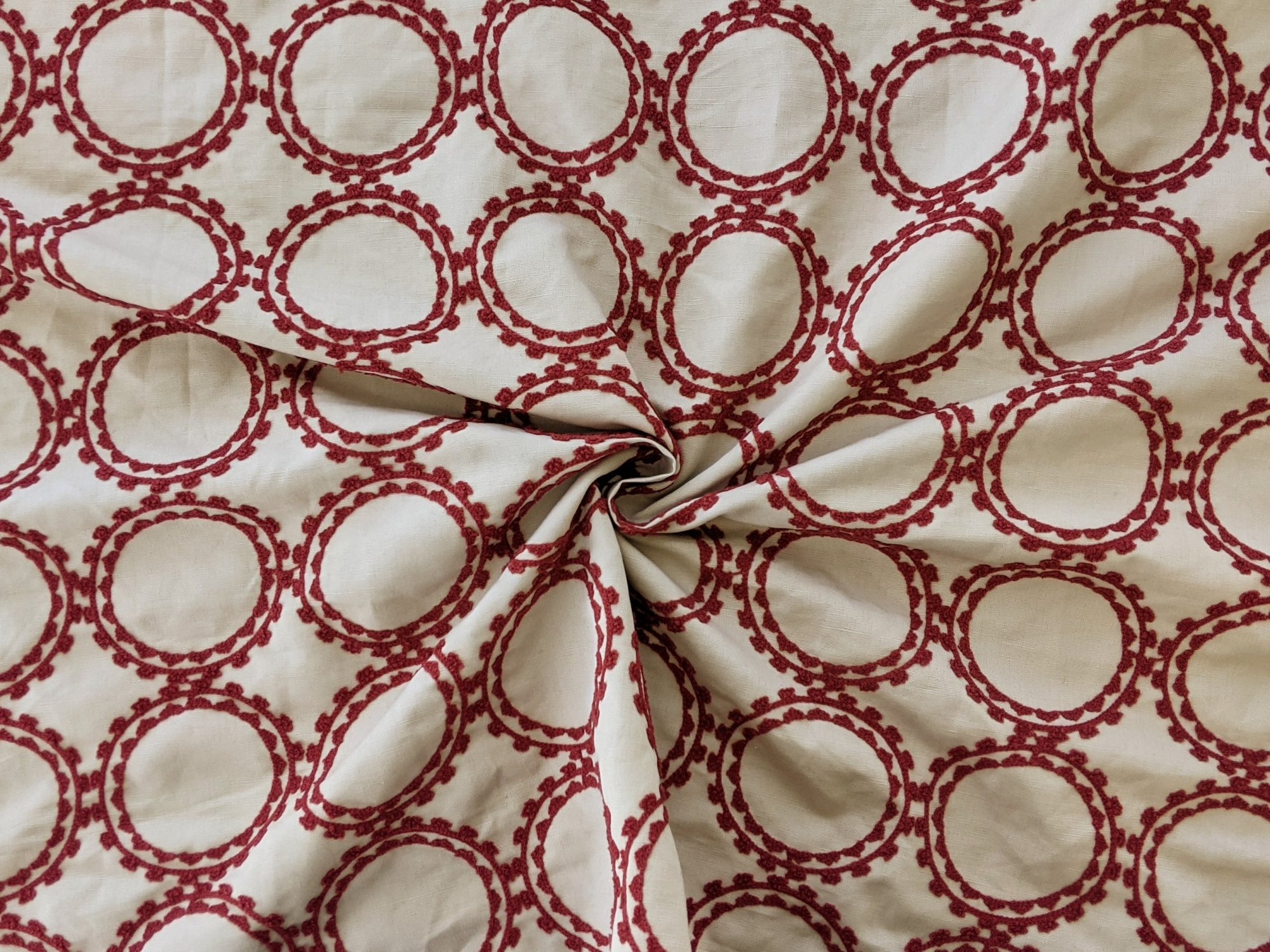 Cotton - Red Circular Embroidery Pattern