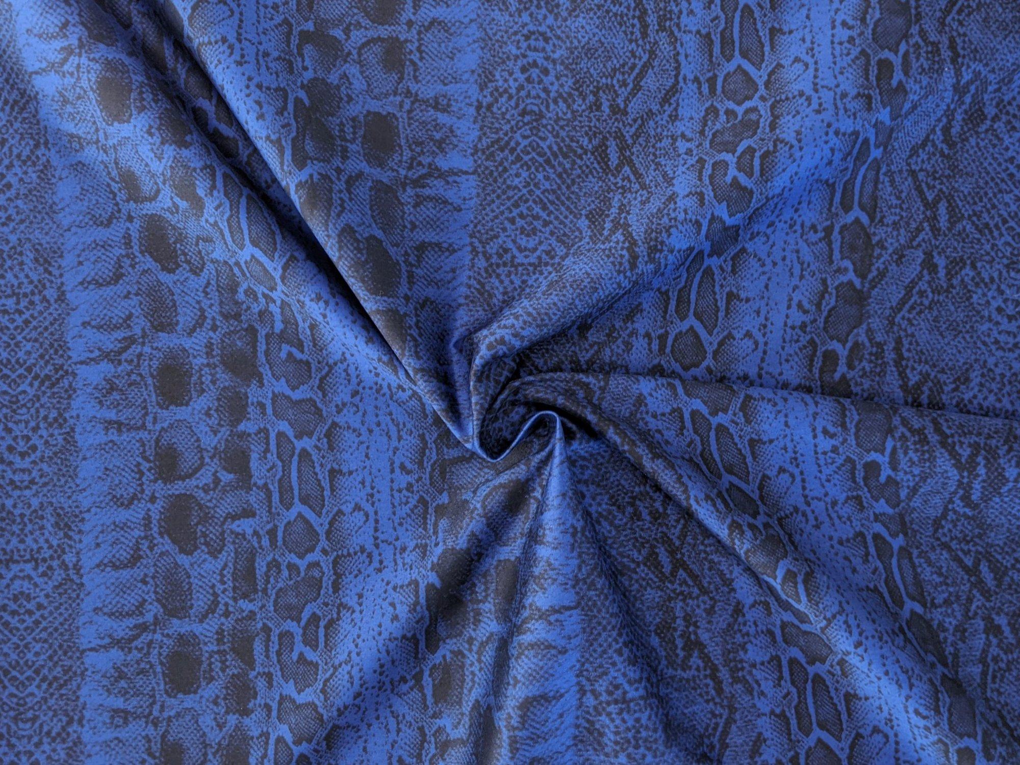 Stretch Cotton Blue Snakeskin