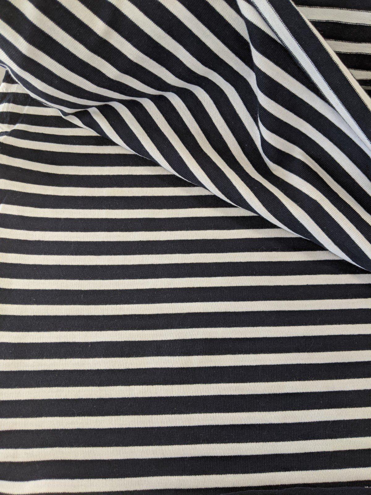 Jersey Knit - Navy & White Stripe