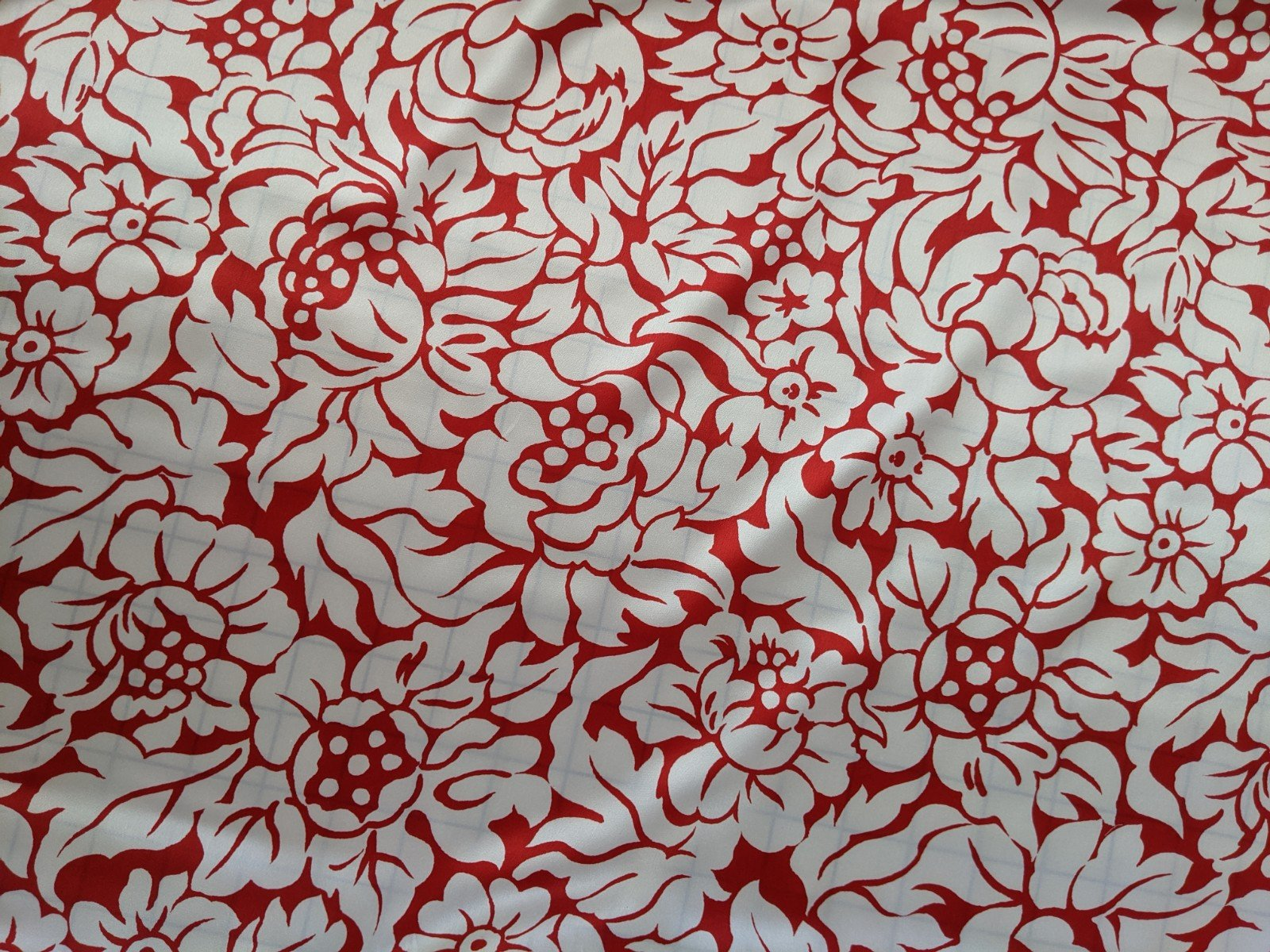 100% Silk - Red and White Floral