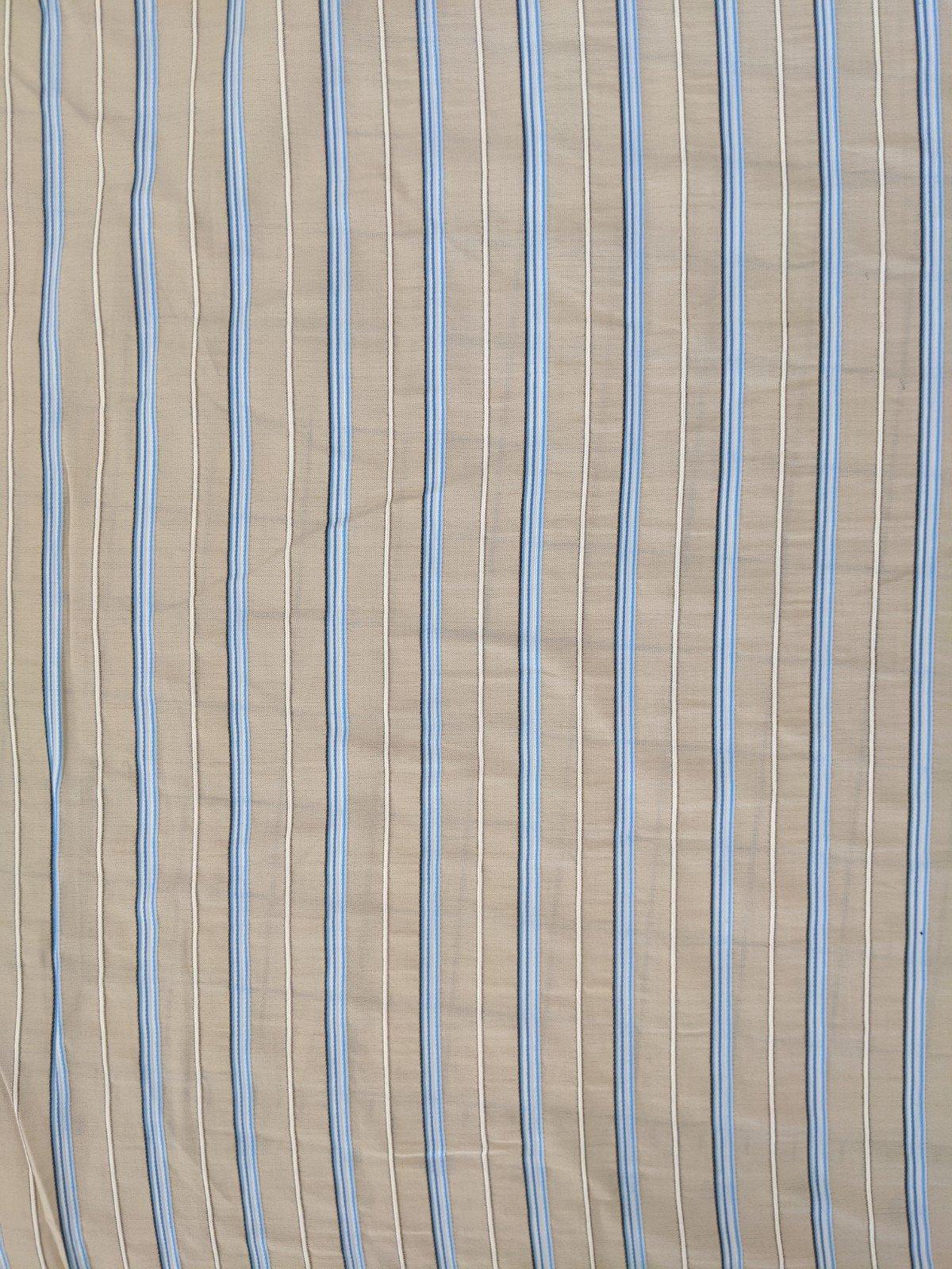 Italian Shirting - Beige/White/Blue Stripe