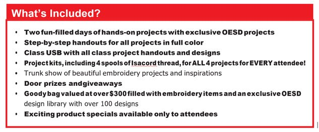 Whats included with your Embroidery class