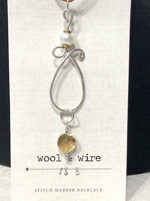 Teardrop Stitch Marker Necklace (Linen cord)