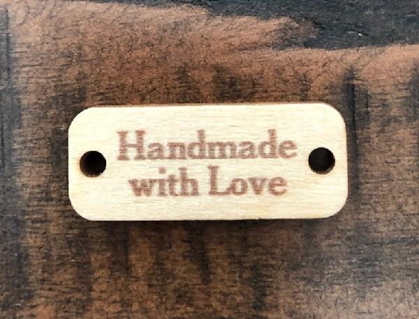 Birch Wood Garment Tag - Handmade with Love Rectangle