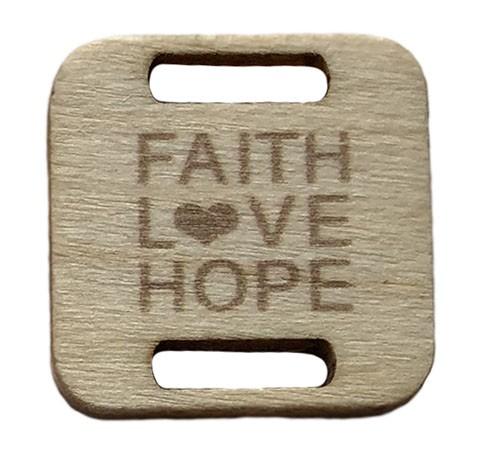 Birch Wood Garment Tag - Faith, Love, Hope Square