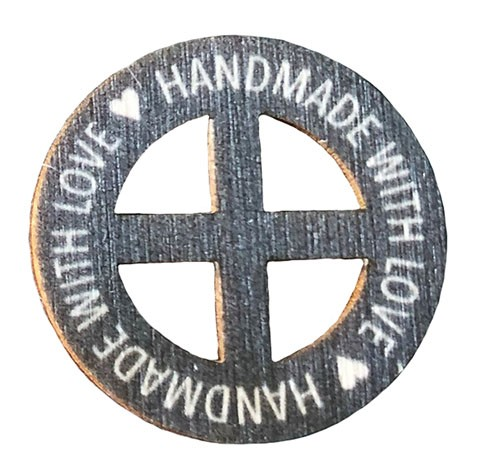 Birch Wood Garment Tag - Hand made with Love (Charcoal) Round