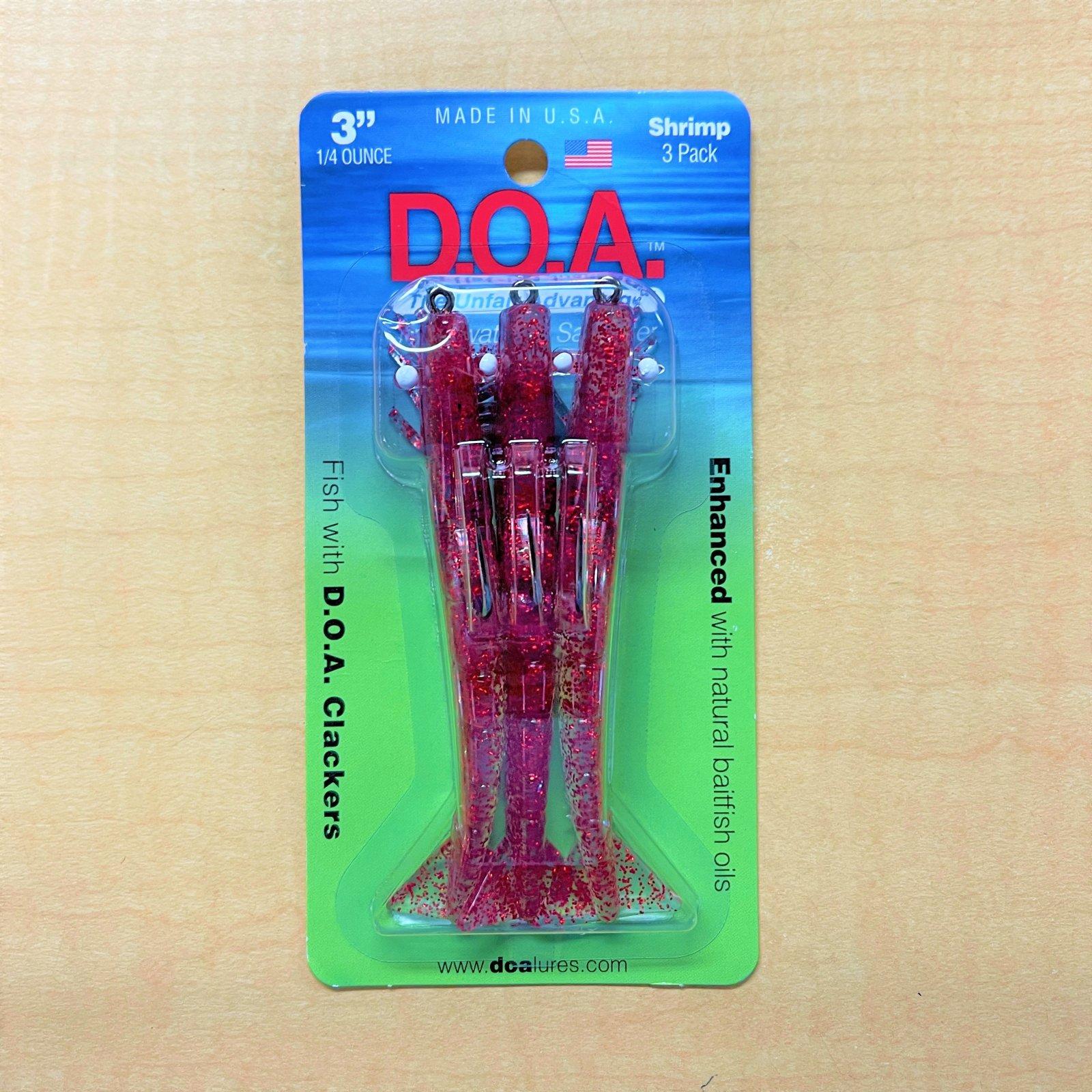 DOA Shrimp Clear/Red Glitter 3Pk 1/4oz - 3