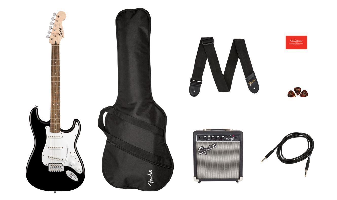 Squier Stratocaster Pack, Laurel Fingerboard, Black, Gig Bag, 10G - 120V