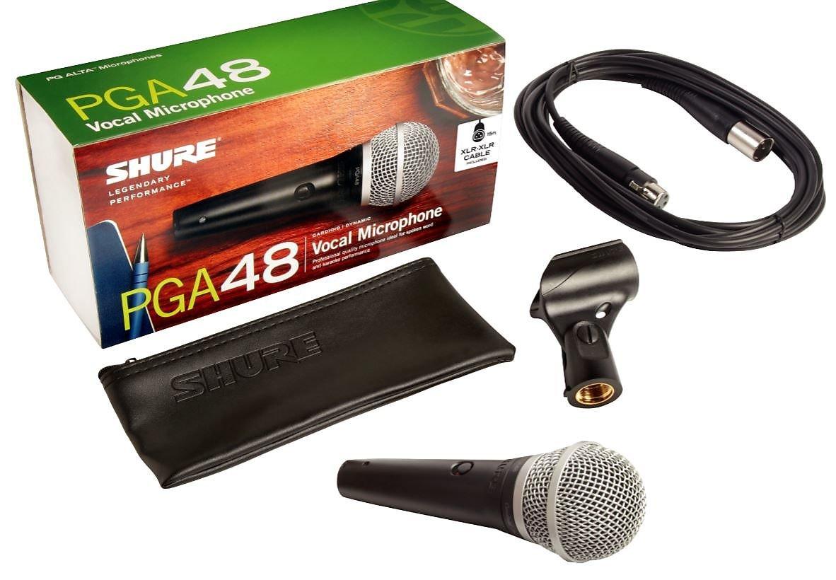 Shure PGA48 Cardioid Dynamic Vocal Microphone w/ 15' XLR Cable