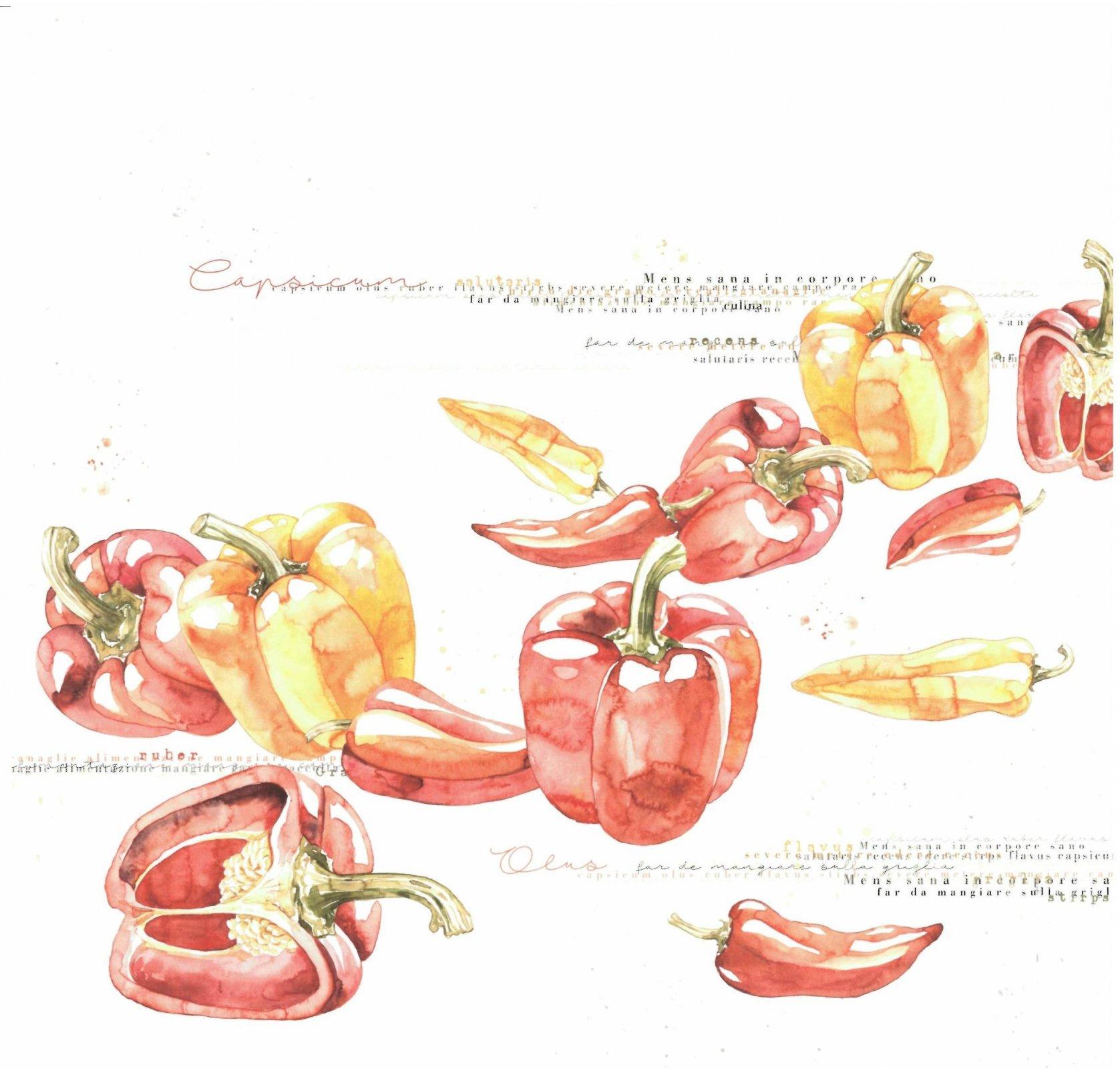 Alexandra Renke cooking cardstock 12X12 - Peppers
