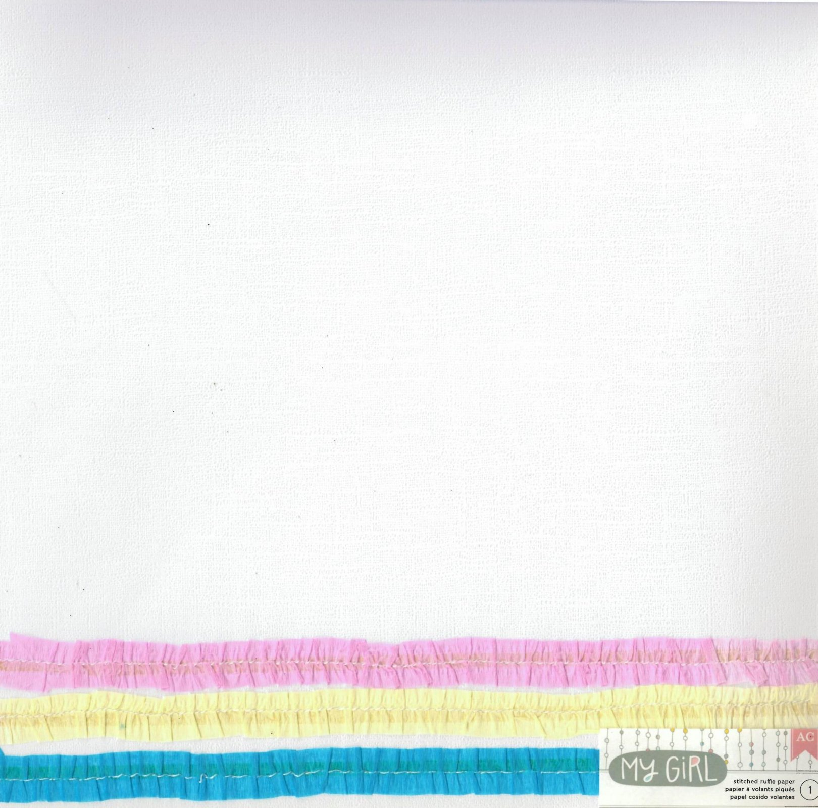 American Crafts My Girl Collection Stitched Ruffle Endearing Ella Paper 12X12