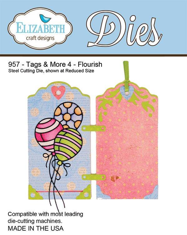 Elizabeth Craft Designs 957 - Tags & More 4 - Flourish - Matrice de découpe