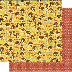 Best Creation Puppy Love Collection Double-sided Paper 12X12 - Papier double-face (chiots)