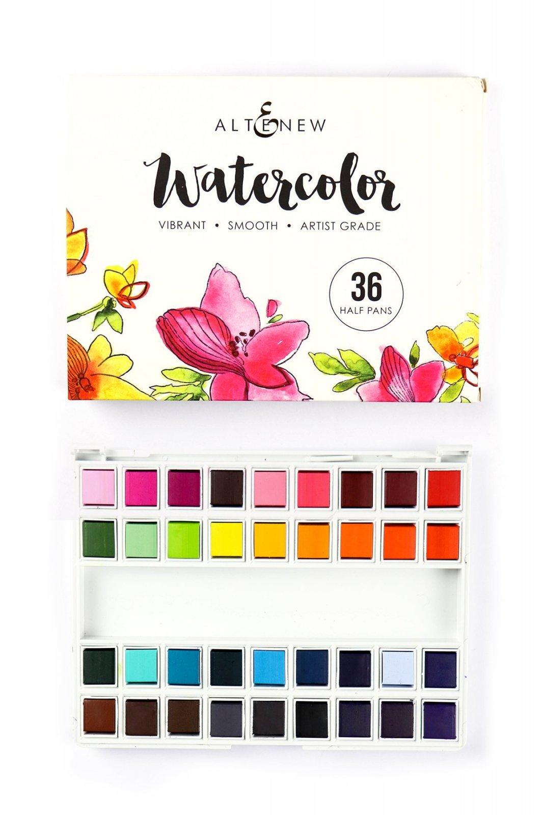 Aquarelle vibrante, ensemble de 36 demi-godets - Watercolor vibrant 36 half pans kit