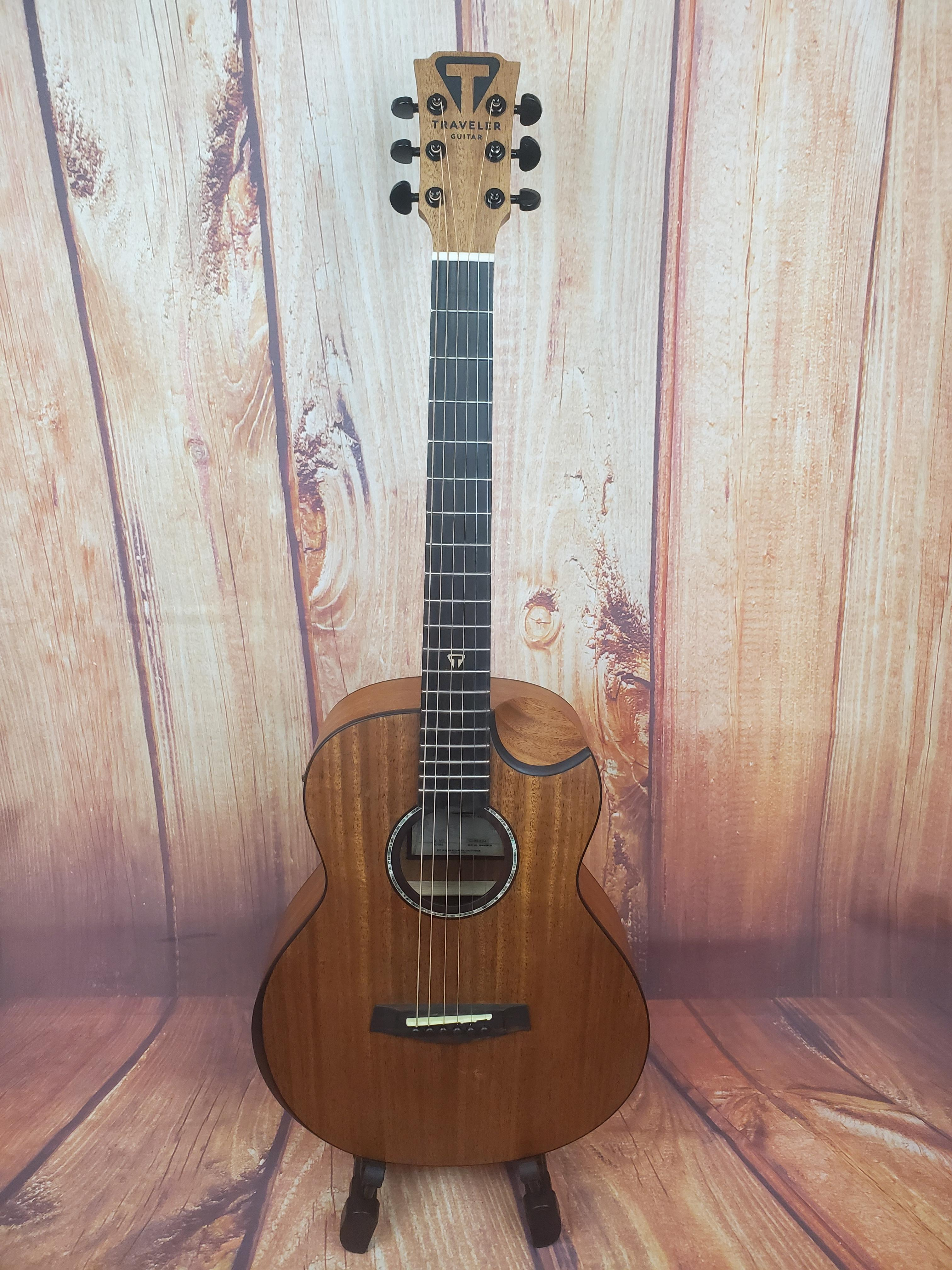 Used- Traveler Guitar Redlands Concert Acoustic-Electric Guitar - Natural Mahogany