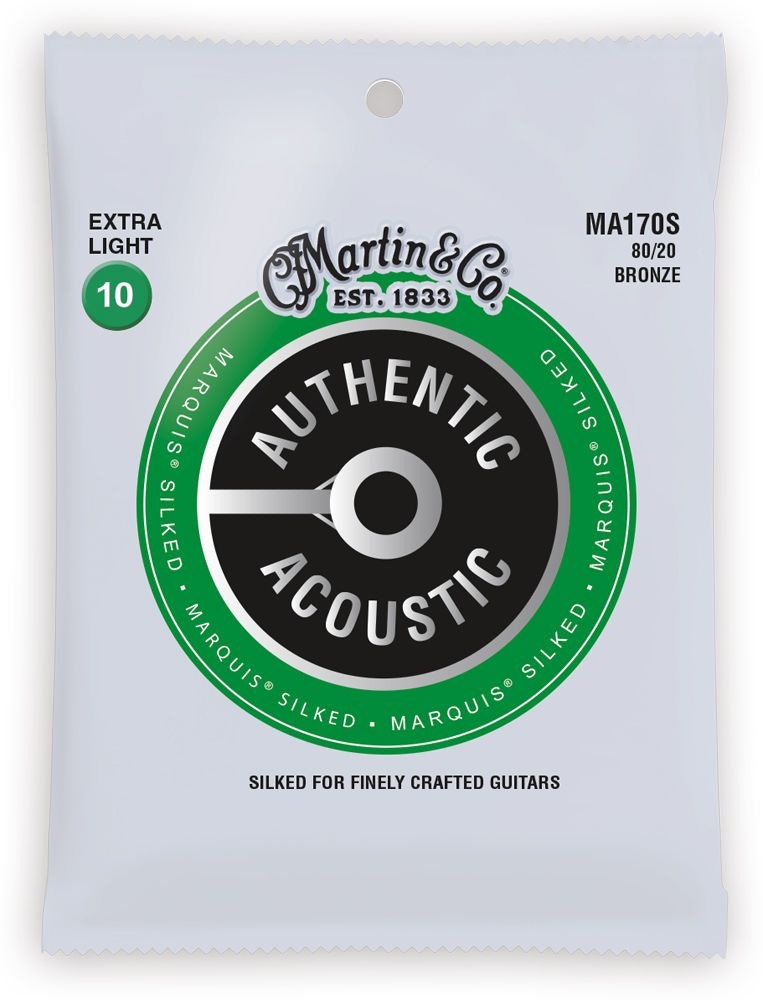 Martin MA170S Marquis 80/20 Bronze Extra-Light Authentic Acoustic Silked Guitar Strings