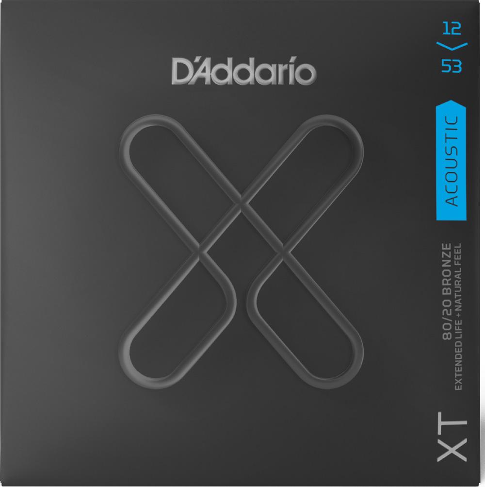 D'Addario XTABR1253 XT 80/20 Bronze Acoustic Guitar Strings, Light, 12-53
