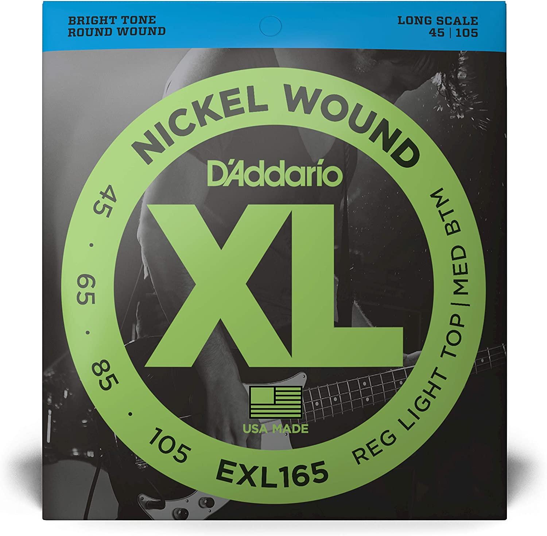 D'Addario EXL165 Nickel Wound Bass Guitar Strings, Custom Light, 45-105 Long Scale
