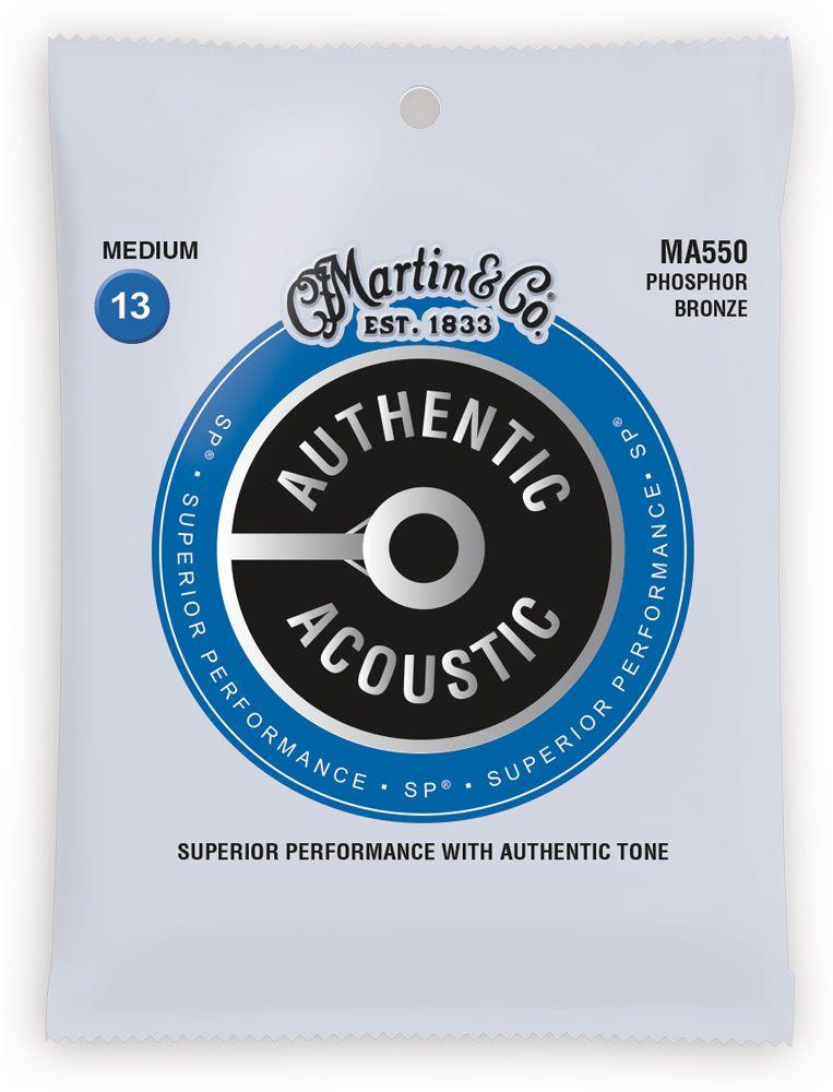 Martin MA550 SP Phosphor Bronze Medium Authentic Acoustic Guitar Strings, 13-56
