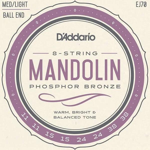 D'Addario EJ70 Phosphor Bronze Mandolin Strings Ball End, Medium/Light, 11-38