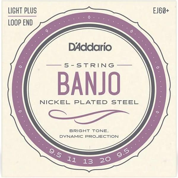 D'Addario EJ60+ 5-String Banjo Strings, Nickel Light Plus, 9.5-20