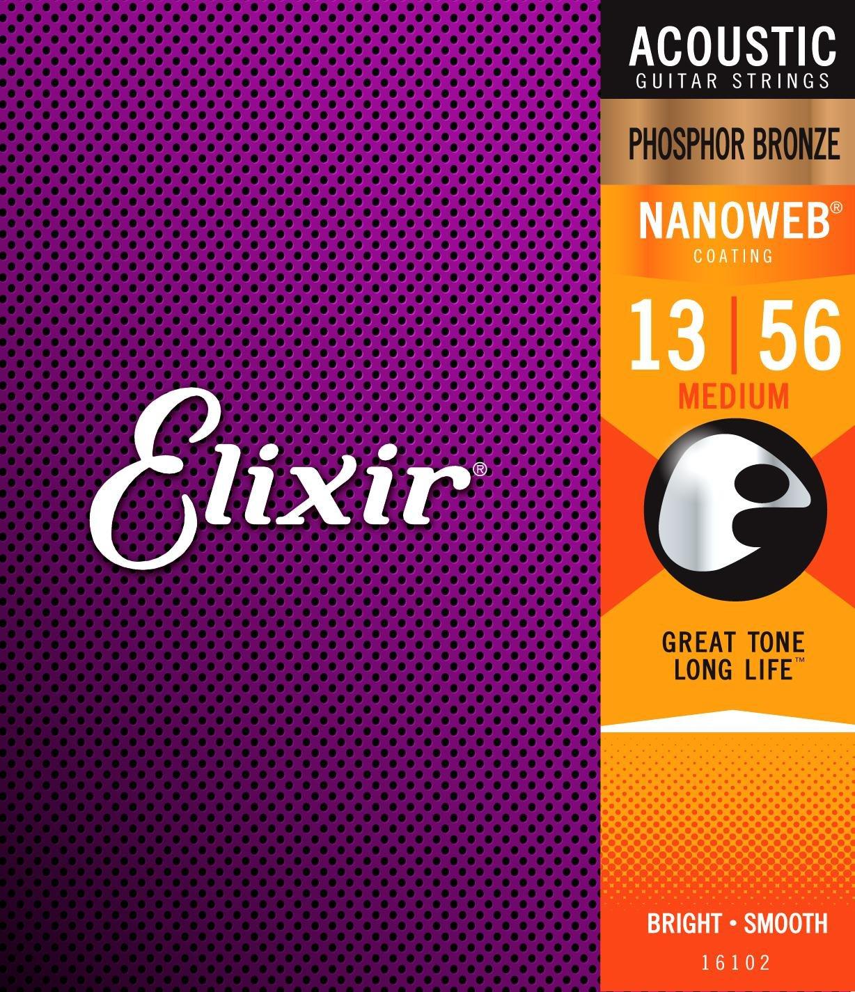 Elixir Acoustic 80/20 Bronze with Nanoweb Coating, Medium