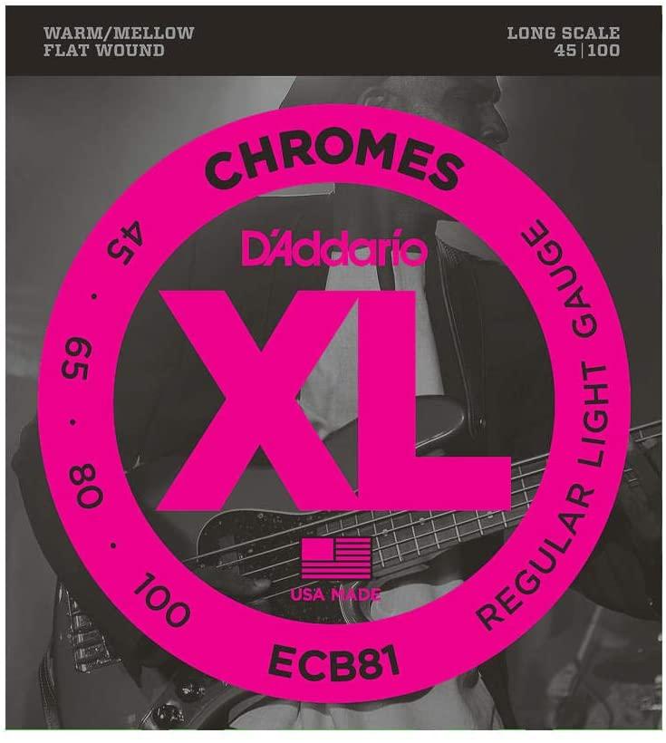 D'Addario ECB81 Chromes Bass Guitar Strings Light, 45-100 Long Scale