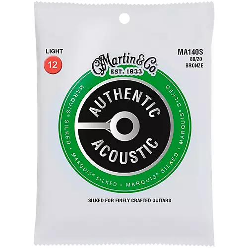 Martin MA140S Silked 80/20 Bronze Light Authentic Acoustic Guitar Strings
