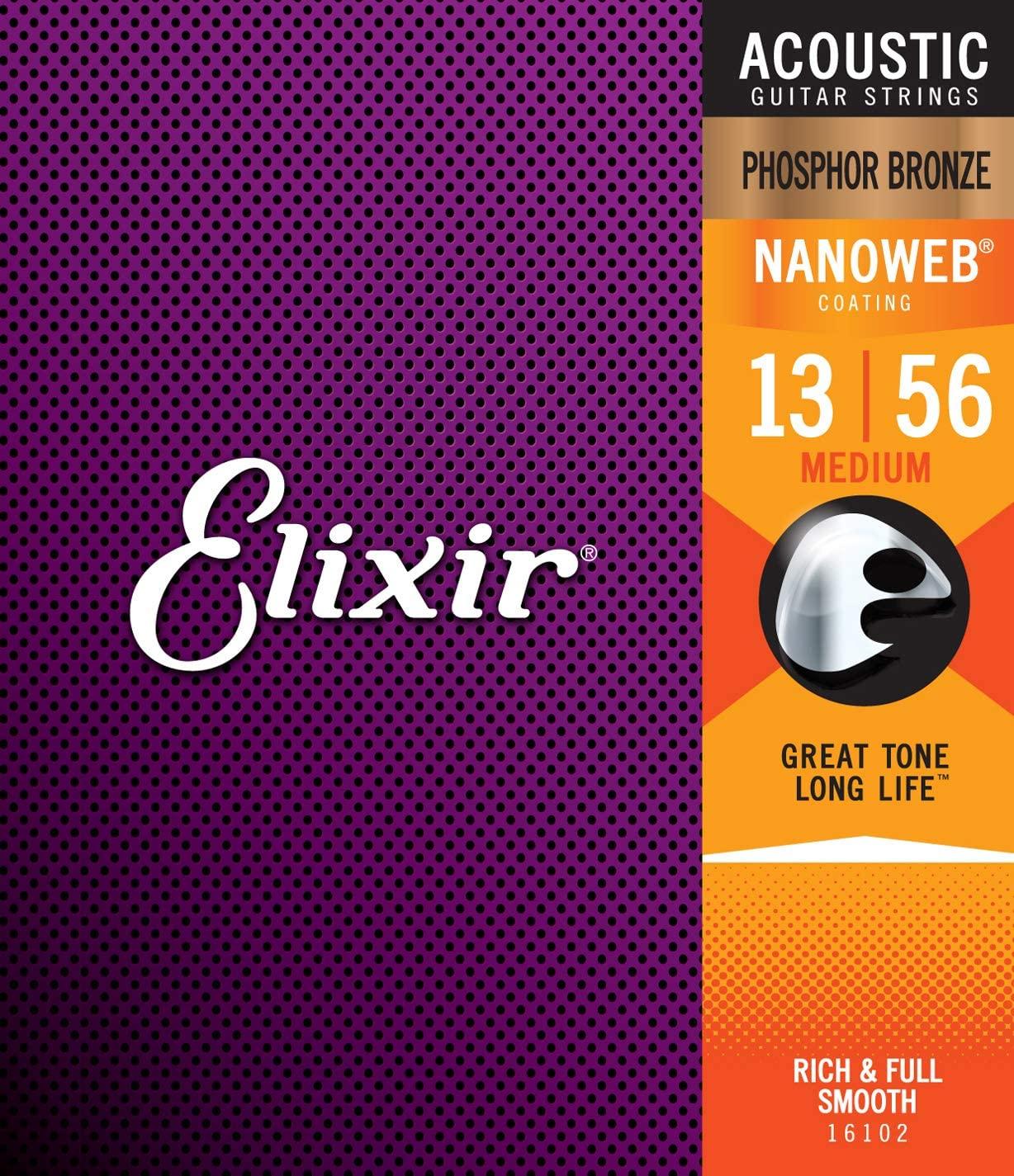Elixir Phosphor Bronze Nanoweb Coated Acoustic Guitar Strings, Medium (13 - 56)
