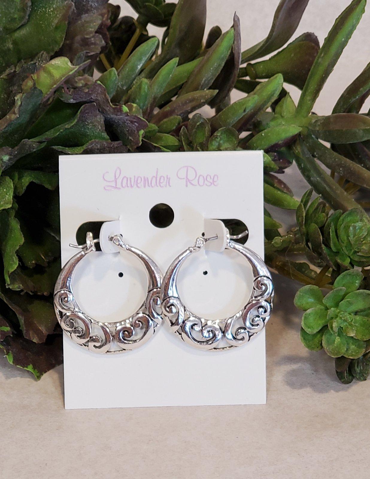 Silver Circle Lace Hoops Earrings