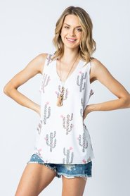V-neck Sleeveless Top with Cactus and Stones