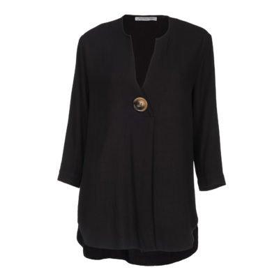 V-Neck 3/4 Sleeve Black Top