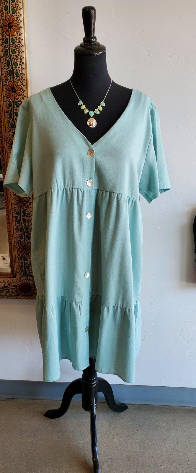Short V-Neck Dress Aqua