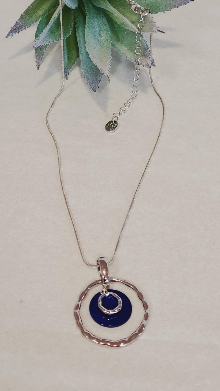 Silver with Navy Blue Shell  Round Necklace