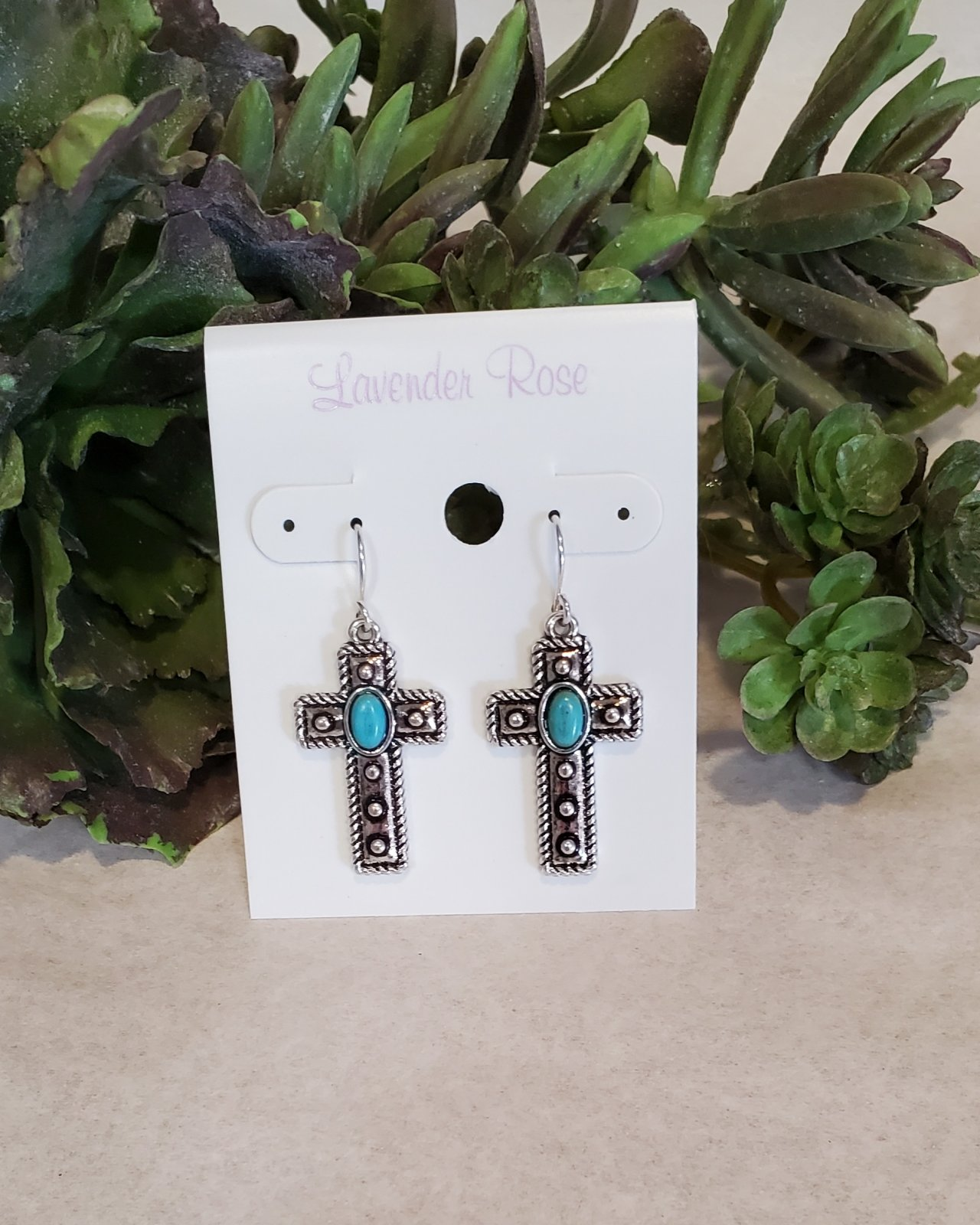 Silver and Turquoise Cross Earrings