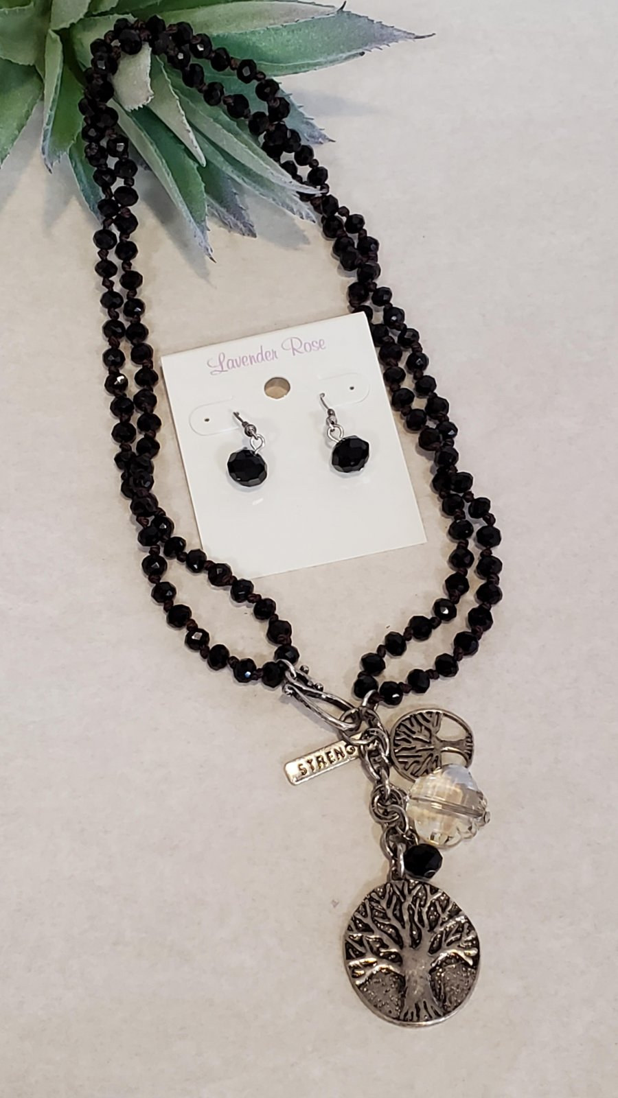 Tree of Live with Stone chain Necklace and Earring Set