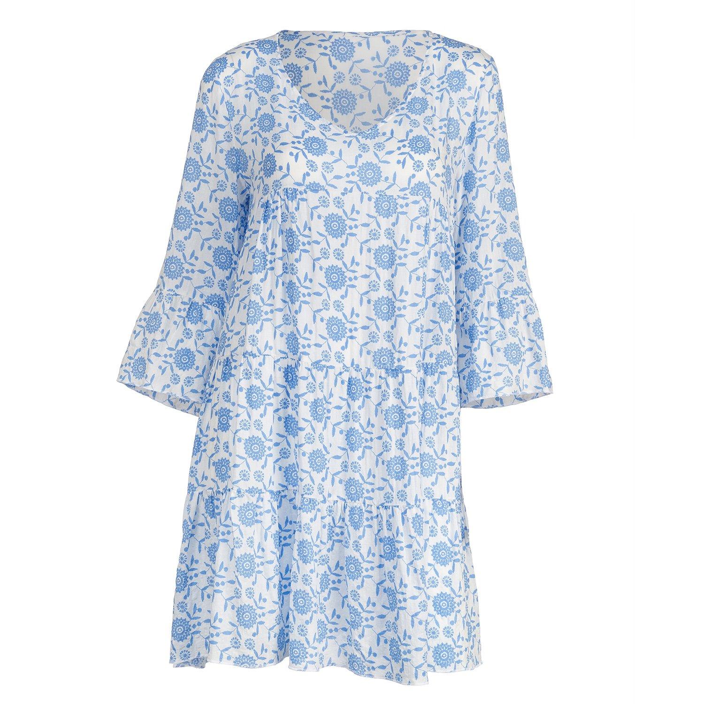 V-NECK SHORT DRESS-BLUE