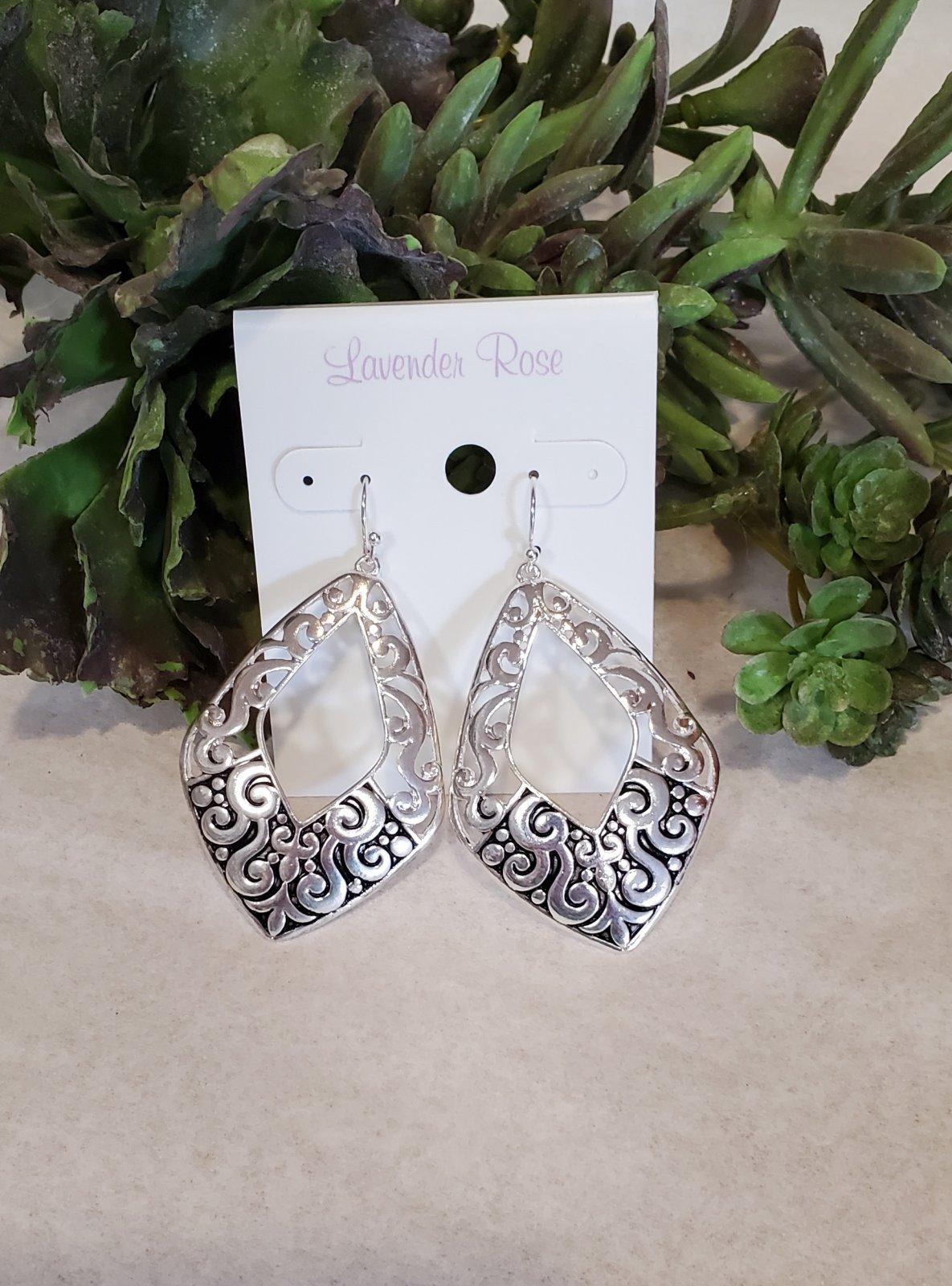 Silver Filigee Teardrop Earrings